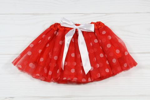 Girls Polka Dot Elastic Dance Tutu-ONE SIZE FITS MOST 2-8-WP