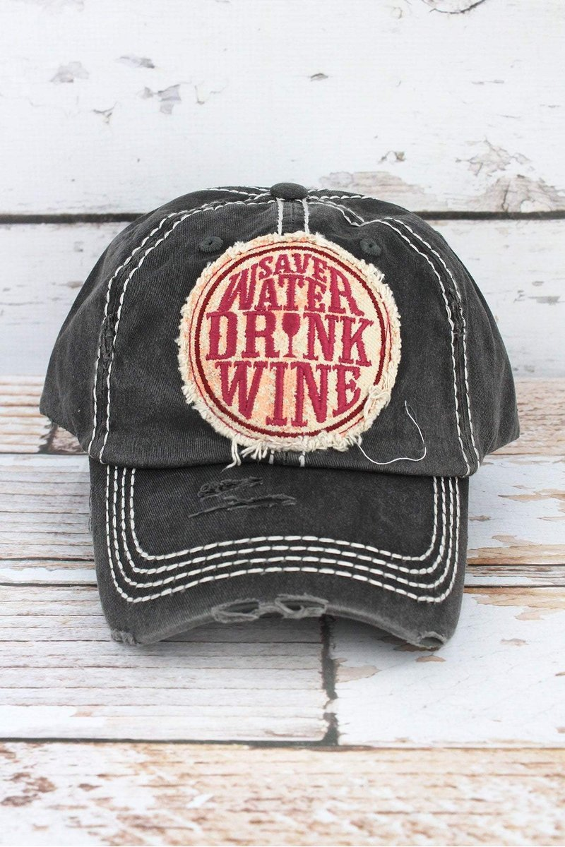 SAVE WATER DRINK WINE CAP BLACK