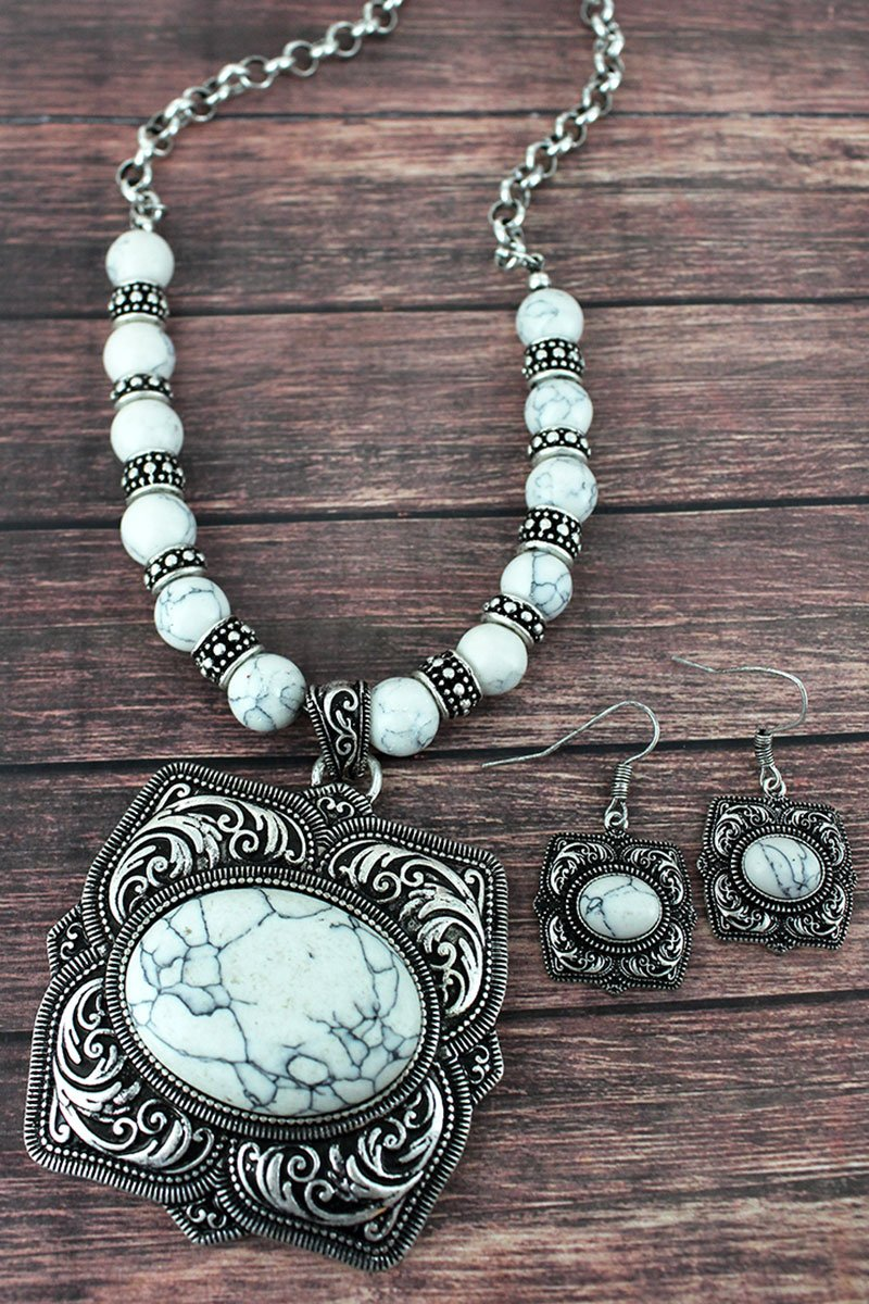 HOWLITE AND SILVERTONE SQUARE FLOWER PENDANT NECKLACE AND EARRING SET