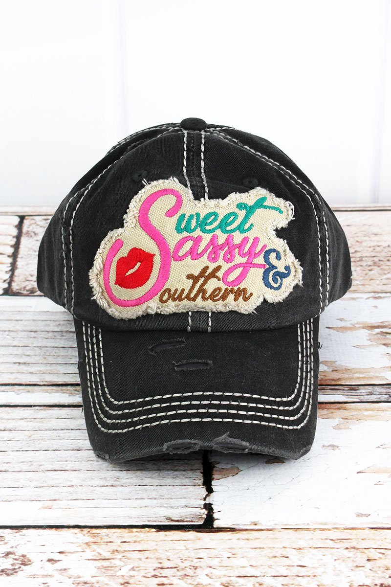 DISTRESSED SWEET AND SASSY BASEBALL CAP
