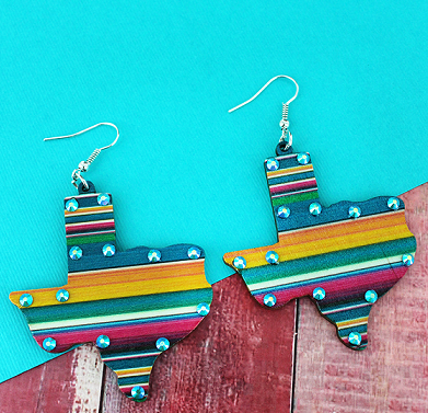 AQUA CRYSTAL SERAPE TEXAS EARRINGS