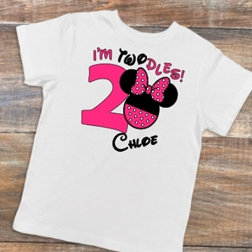 I'M TWODLES (2) BIRTHDAY GIRL SHIRT MINNIE DISNEY
