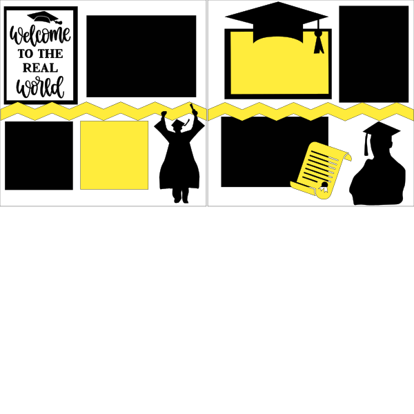 GRADUATION WELCOME TO THE REAL WORLD BOY  -basic page kit