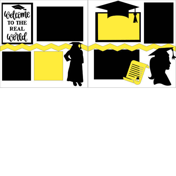 GRADUATION WELCOME TO THE REAL WORLD GIRL  -basic page kit