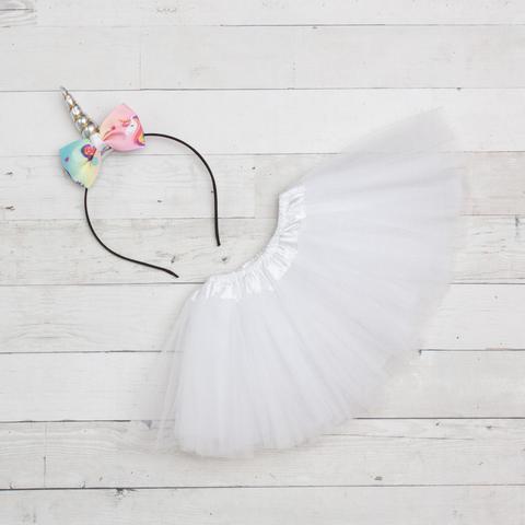 Unicorn Headband/Bow Tutu Set - white