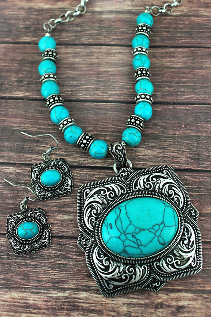 TURQUOISE AND SILVERTONE SQUARE FLOWER PENDANT NECKLACE AND EARRING SET