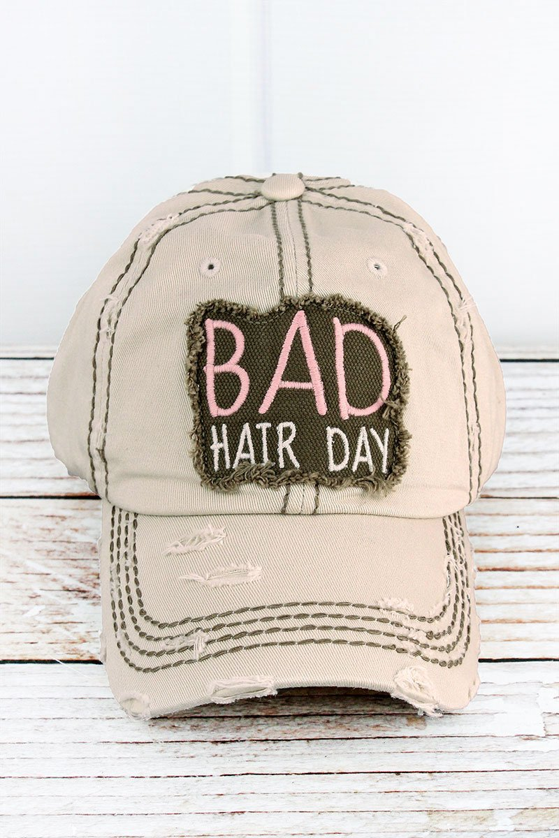 DISTRESSED STONE 'BAD HAIR DAY' CAP