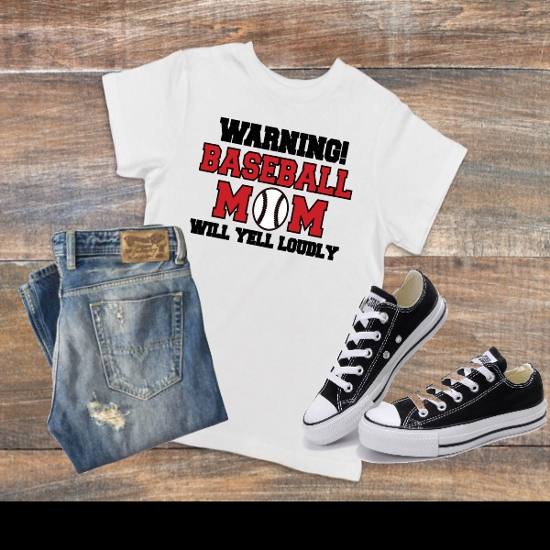 WARNING BASEBALL MOM T-SHIRT