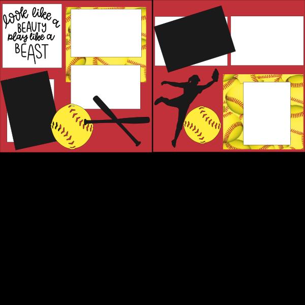 SOFTBALL- LOOK LIKE A BEAUTY PLAY LIKE A BEAST   -basic page kit