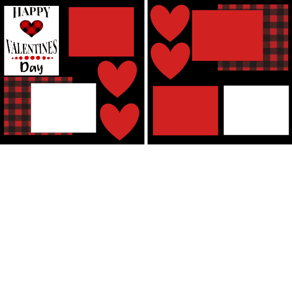 Happy Valentines day (buffalo plaid) --  page kit
