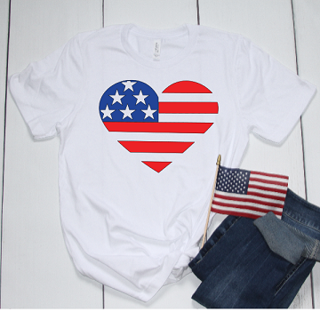 PATRIOTIC HEART FLAG SHIRT TEE  SPECIAL