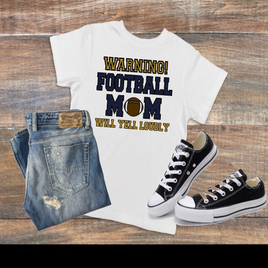 WARNING FOOTBALL MOM T-SHIRT