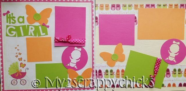ITS A GIRL BUTTERFLIES  page kit
