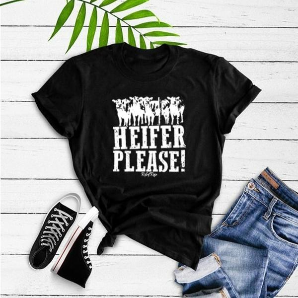 HEIFER PLEASE SHORT SLEEVE WHITE LETTERING