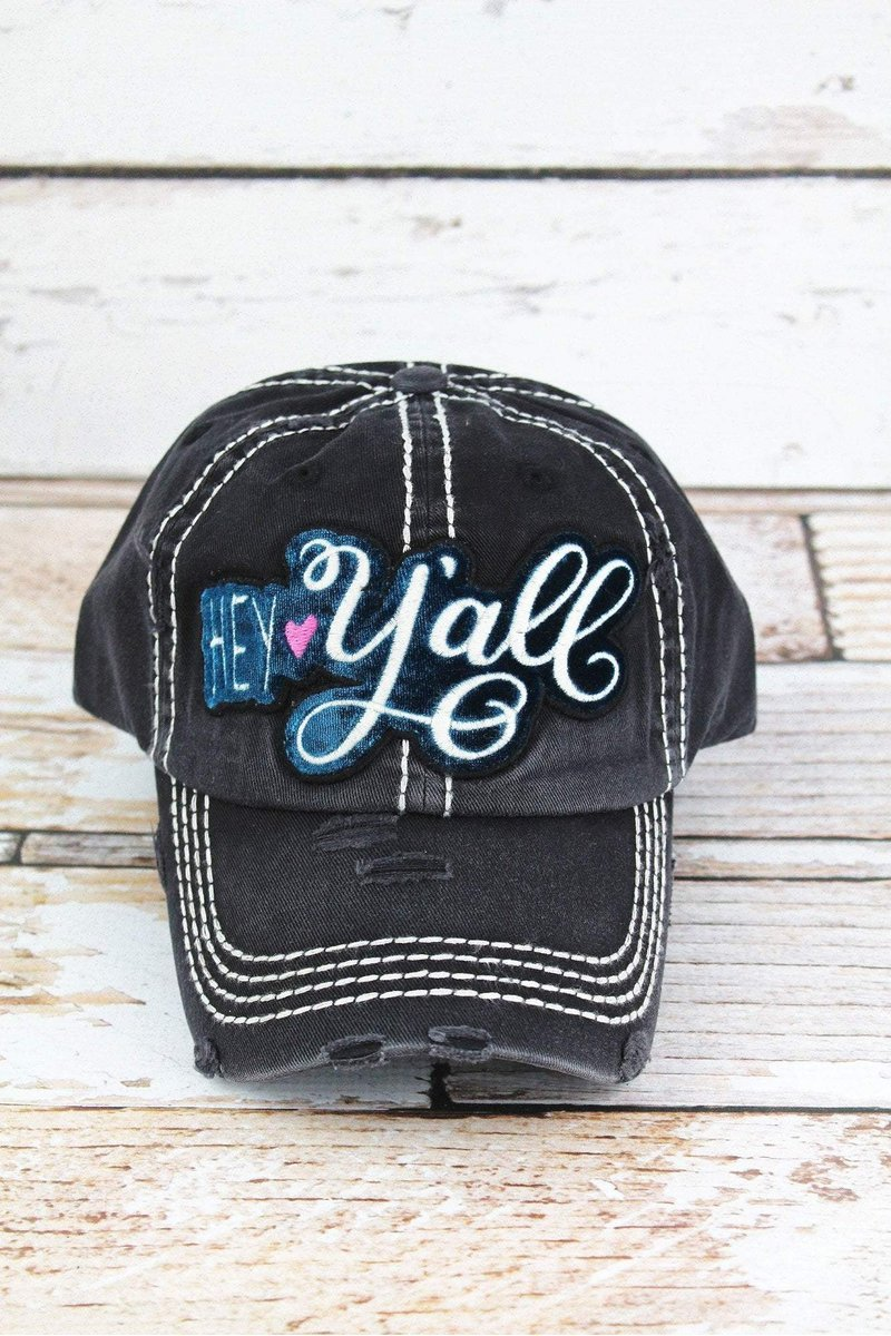 DISTRESSED BLACK WITH VELVET 'HEY Y'ALL' CAP