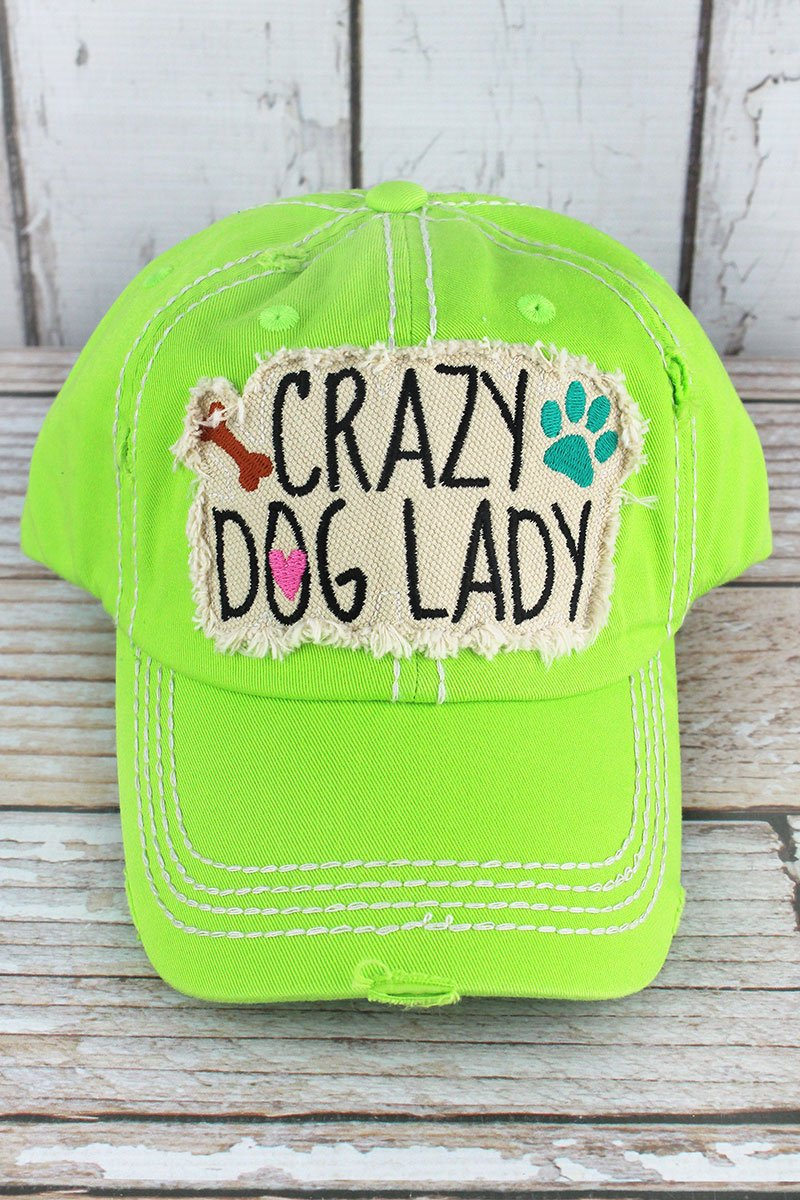 DISTRESSED LIME 'CRAZY DOG LADY' CAP
