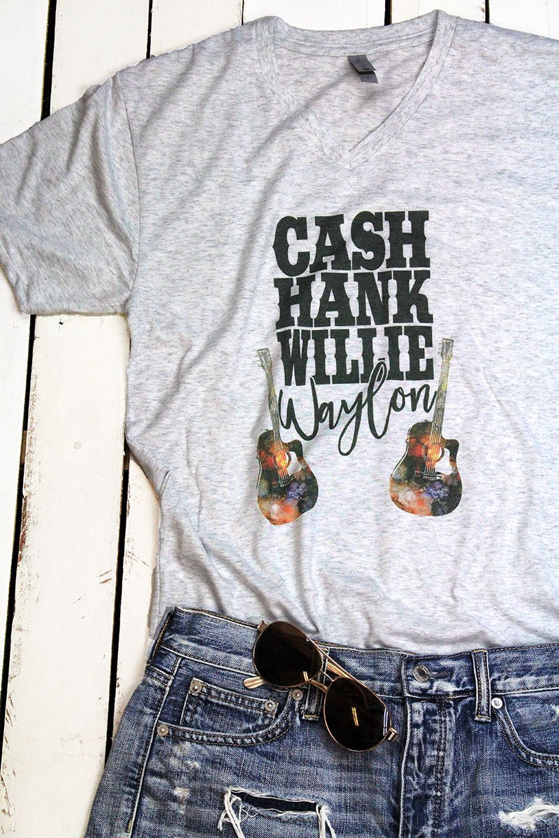 CASH, HANK WILLIE & WAYLON TRI-BLEND V NECK TEE