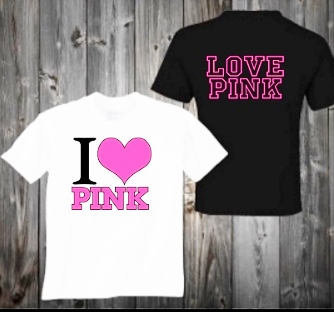 I LOVE PINK T- SHIRTS