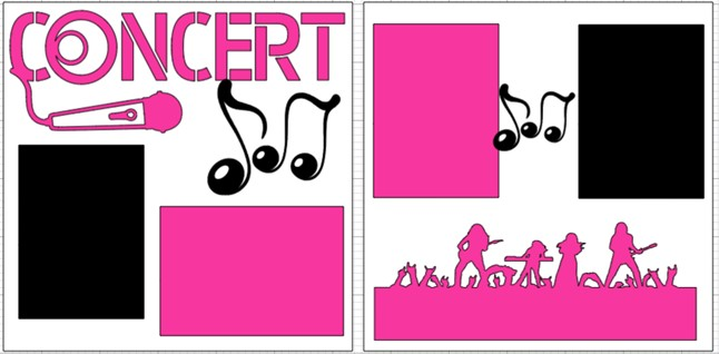 Concert (pink & Black)--  page kit