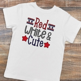 4TH OF JULY CHILDS SHIRT RED WHITE AND CUTE -PERSONALIZE FREE