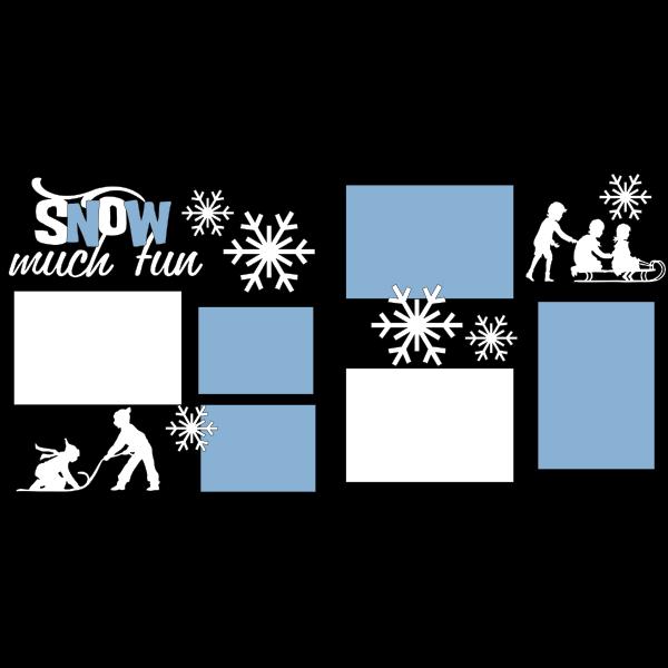 SNOW MUCH FUN= SLEDDING  -basic page kit