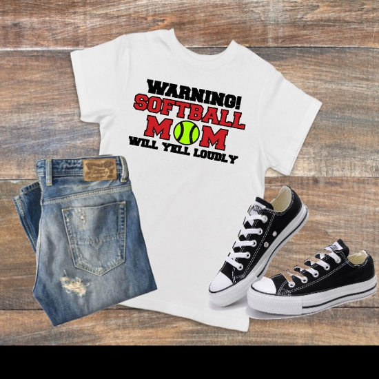 WARNING SOFTBALL MOM T-SHIRT