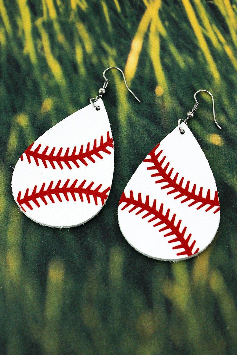 âš¾ Baseball Faux Leather Teardrop Earrings
