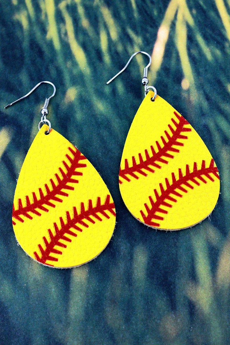 🥎 Softball Faux Leather Earrings