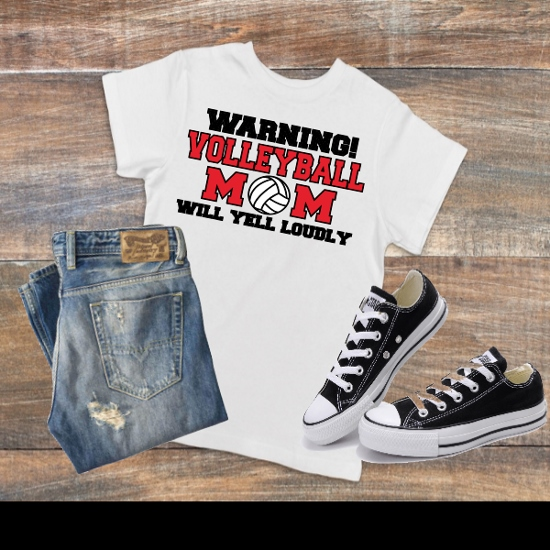 WARNING VOLLEYBALL MOM T-SHIRT