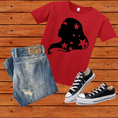 T-SHIRT WONDER WOMAN SILHOUETTE